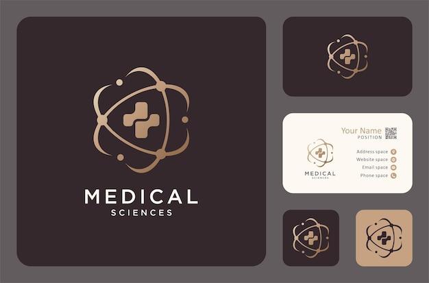 Medisch wetenschappelijk logo met visitekaartjeontwerp, medisch logo, gezondheidslogo, medicijnlogo.