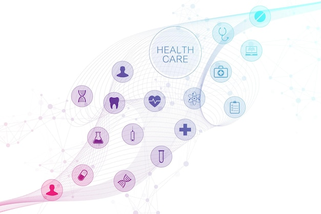 Medische abstracte achtergrond met gezondheidszorgpictogrammen. medisch technologie netwerk concept. verbonden lijnen en punten, golfstroom, moleculen, dna. medische achtergrond voor uw ontwerp. vector illustratie
