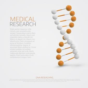 Medische achtergrond met 3d dna-molecule