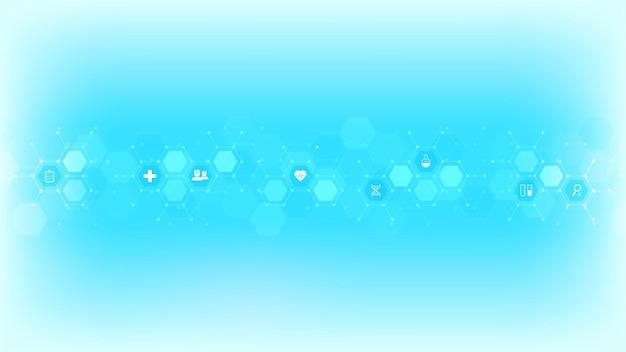 Medische achtergrond met plat pictogrammen en symbolen. sjabloonontwerp met concept en idee voor gezondheidszorgtechnologie, innovatiegeneeskunde, gezondheid, wetenschap en onderzoek.