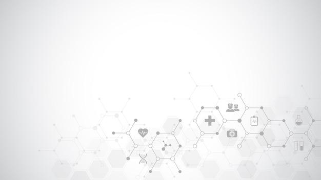 Medische achtergrond met platte pictogrammen en symbolen