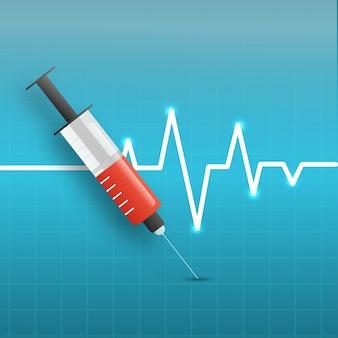Medische achtergrond met spuit en elektrocardiogram.