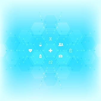 Medische achtergrond met vlakke pictogrammen en symbolen