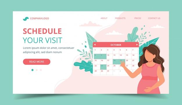 Medische afspraak zwangerschap. zwangere vrouw die een afspraak met kalender plant.