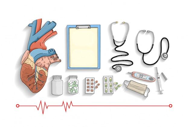 Medische apparatuur collectie Premium Vector