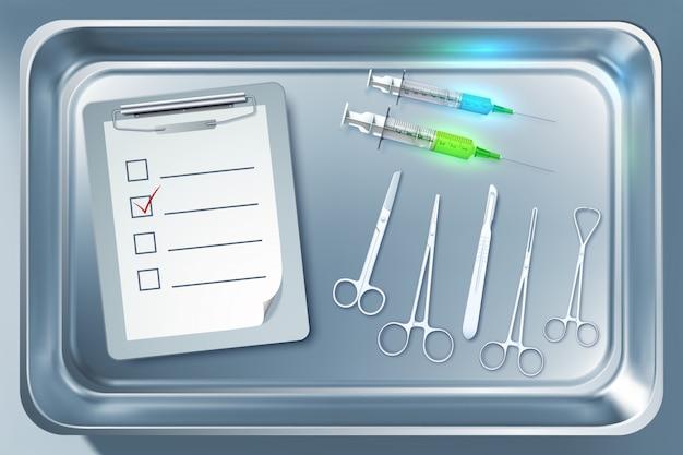 Medische apparatuur concept met spuiten tang scalpel schaar klembord in metalen sterilisator geïsoleerde illustratie
