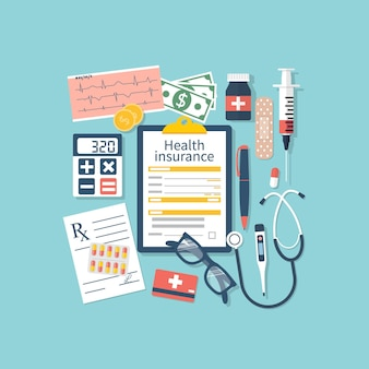 Medische apparatuur, geld en voorgeschreven medicijnen, bovenaanzicht