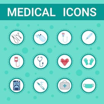 Medische apparatuur icons set online raadpleging knop concept gezondheidszorg klinieken hospital service