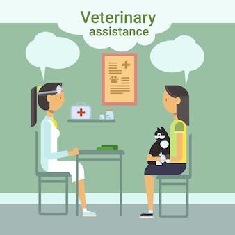 Medische arts dierenarts cure dier in kliniek van veterinaire bijstand