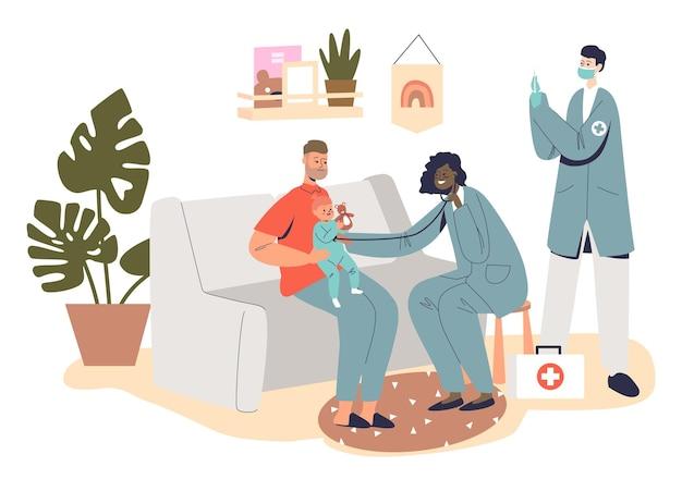Medische behandeling van kinderen: professionele huisartsen kinderarts bezoeken kleine kindpatiënt thuis