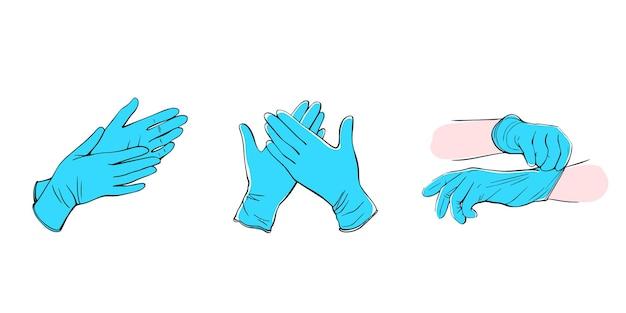 Medische beschermende handschoenen. vector illustratie