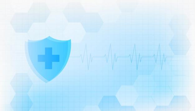 Medische bescherming immuniteit schild gezondheidszorg achtergrondontwerp