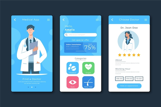 Medische boeking app concept