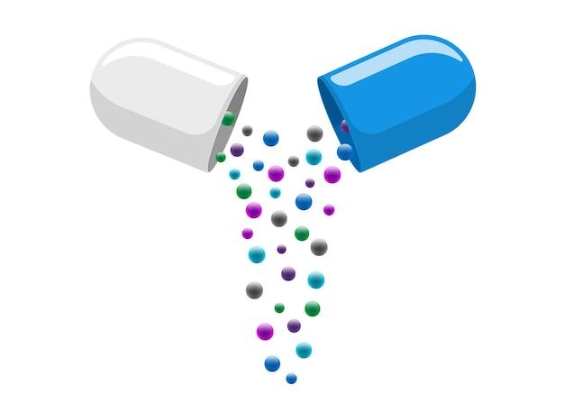 Medische capsulepil open met vallende kleurrijke moleculen medicijn medicijn vitamine verbetert de gezondheid