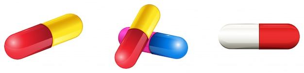 Medische capsules in de schaal