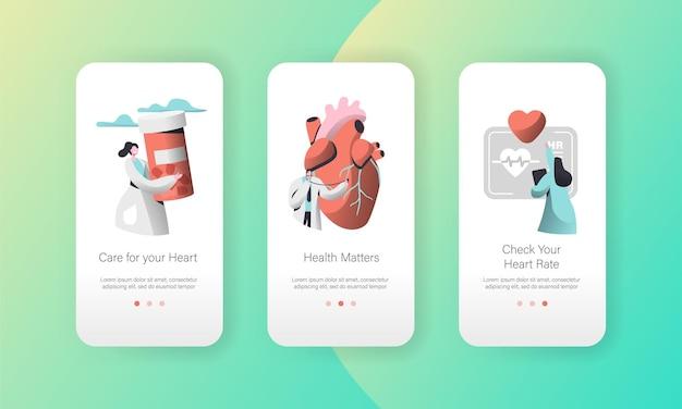 Medische cardiologie werknemer zorg hart gezondheid mobiele app-pagina schermset aan boord.