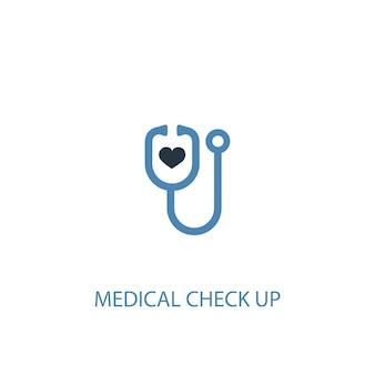 Medische check-up concept 2 gekleurd icoon. eenvoudige blauwe elementenillustratie. medische check-up symbool conceptontwerp. kan worden gebruikt voor web- en mobiele ui/ux