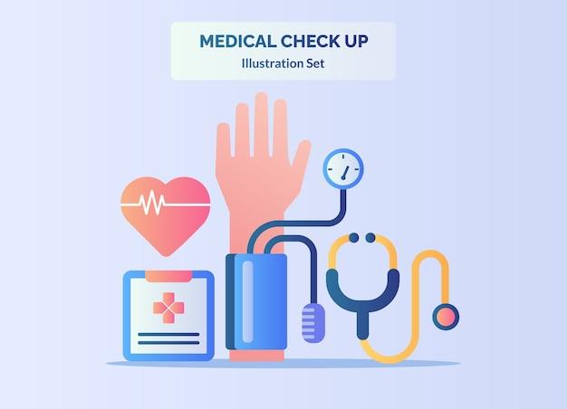 Medische check-up concept hartslag hand spanningsmeter stethoscoop