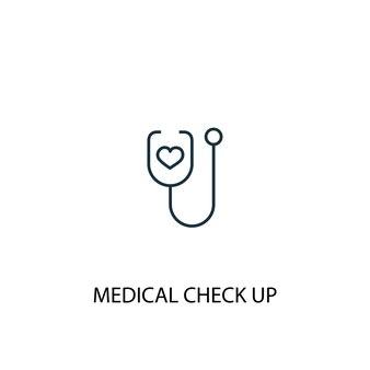 Medische check-up concept lijn icoon. eenvoudige elementenillustratie. medische check-up concept schets symbool ontwerp. kan worden gebruikt voor web- en mobiele ui/ux