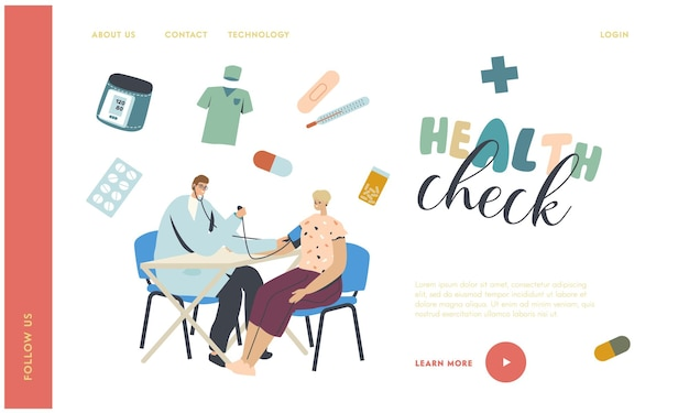 Medische check-up, controle van de bestemmingspaginasjabloon voor arteriële druk.