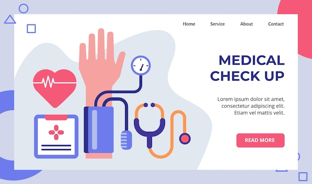 Medische check-up hartspanningsmeter stethoscoop campagne