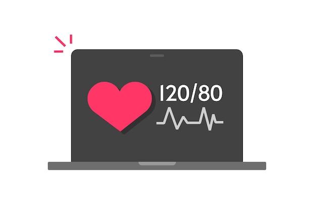 Medische check-up van goede bloeddruk tech op laptop computer platte cartoon icoon