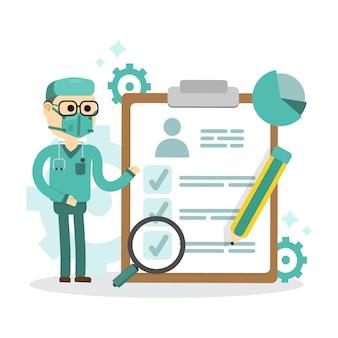 Medische checklist formulier gezondheidscontrole op klembord