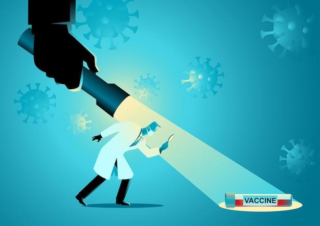Medische concept vectorillustratie van medisch onderzoeker kreeg hulp van gigantische hand die een gigantische zaklamp vasthield om een vaccin te vinden