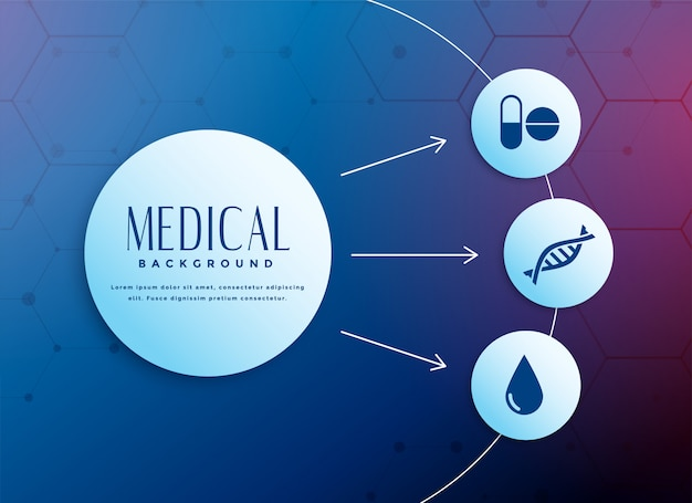 Medische conceptenachtergrond met pictogrammen