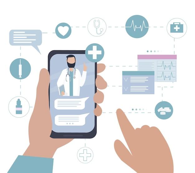 Medische consultatie en diagnose via online videogesprek