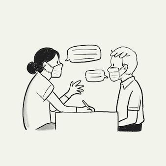 Medische consultatie vector, doodle illustratie nieuw normaal