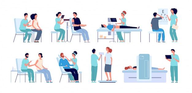 Medische controle. arts die patiënt, ogentest en fysieke gezondheid controleert. preoperatieve ziekenhuisprocedures. mannelijke vrouwelijke checkup set