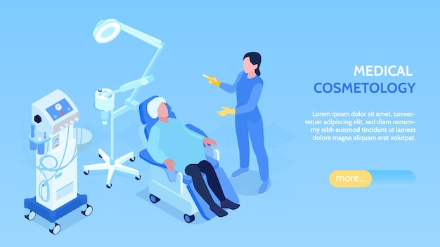 Medische cosmetologie horizontale isometrische banner