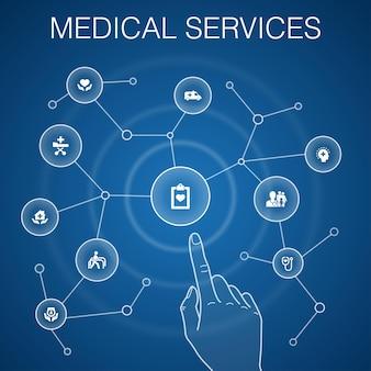 Medische diensten concept, blauwe achtergrond. noodgevallen, preventieve zorg, patiënt vervoer, prenatale zorg pictogrammen