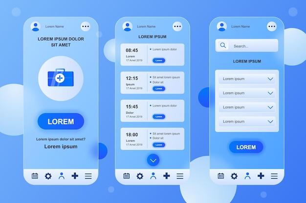 Medische diensten glasmorfische ontwerpset met neumorfische elementen voor mobiele app ui ux gui-schermen