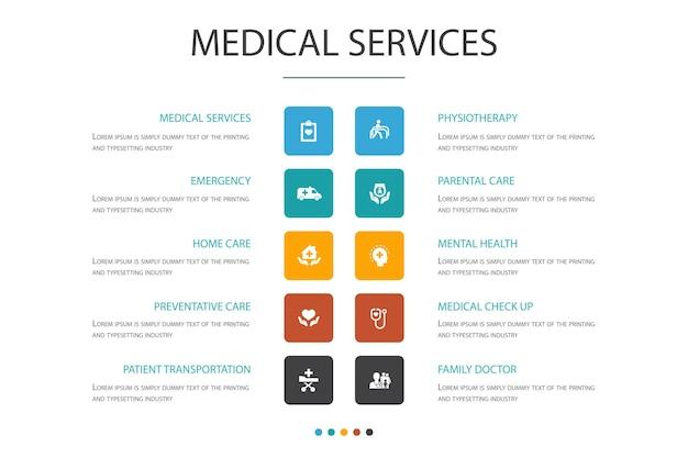 Medische diensten infographic cloud ontwerpsjabloon. noodgevallen, preventieve zorg, patiëntenvervoer, prenatale zorg eenvoudige pictogrammen