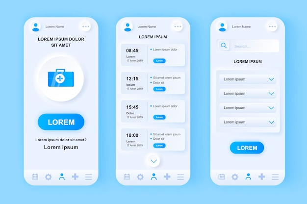 Medische diensten moderne neumorfisch ontwerp ui mobiele app