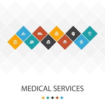 Medische diensten trendy ui sjabloon infographics concept. noodgevallen, preventieve zorg, patiëntenvervoer, prenatale zorg pictogrammen