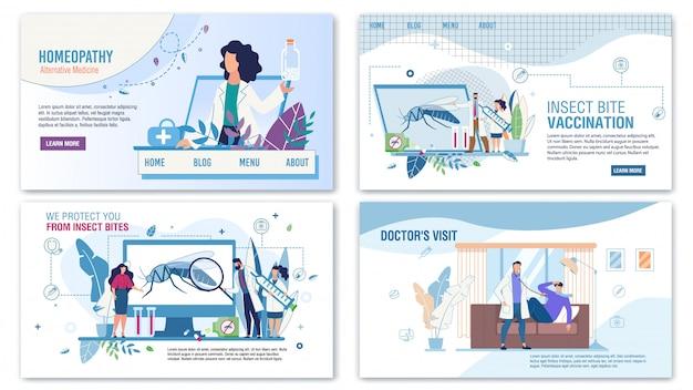 Medische diensten voor hulp flat landing page set