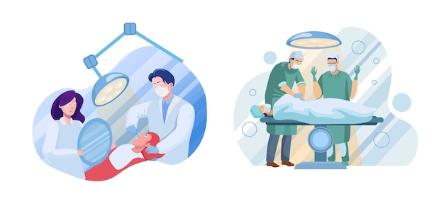 Medische diensten zijn ingesteld. tandartsen, chirurgen en patiëntenpersonages. gezondheidszorg, tandheelkunde en chirurgie. tandheelkundige controle, chirurgische ingreep