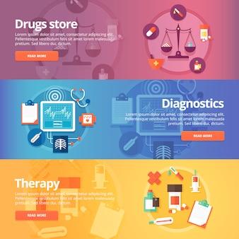 Medische en gezondheidsset. drogisterij. apotheek. diagnostiek. behandeling. geneesmiddel. pillen. moderne illustraties. horizontale banners.