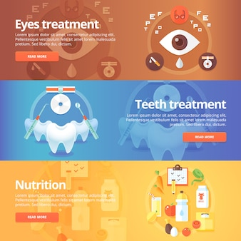 Medische en gezondheidsset. oog zorg. vision behandeling. tandheelkunde. tanden verzorgen. voeding. eetpatroon. moderne illustraties. horizontale banners.