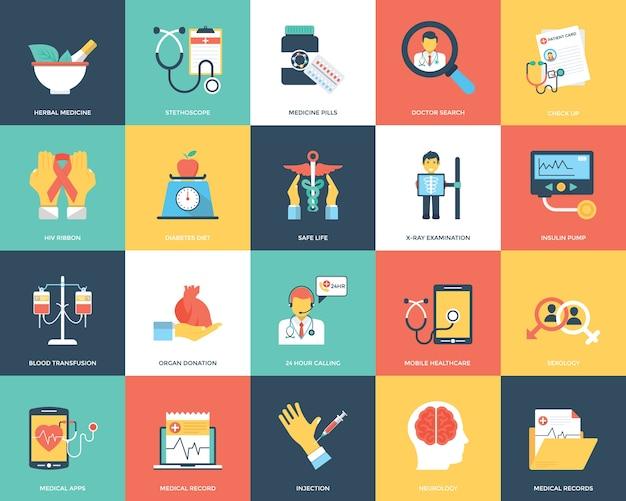 Medische en gezondheidszorg icons set