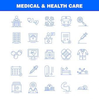 Medische en gezondheidszorg lijn icon set
