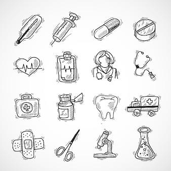 Medische en gezondheidszorg pictogrammen