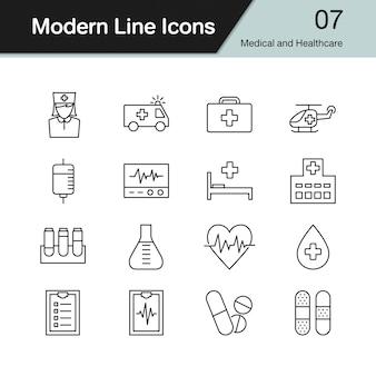 Medische en gezondheidszorg pictogrammen.