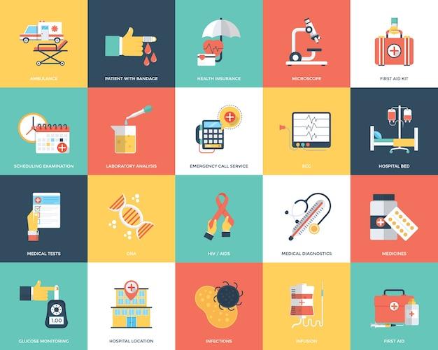 Medische en gezondheidszorg platte icons set