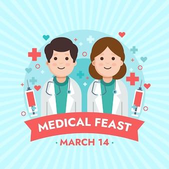 Medische feestillustratie met artsen die stethoscopen dragen