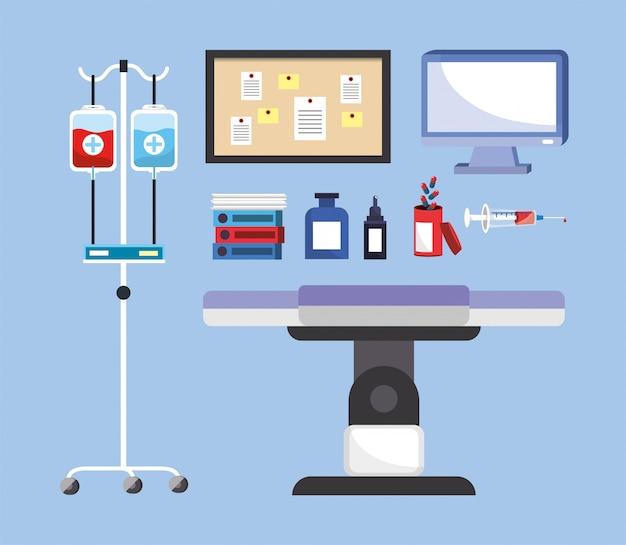 Medische gebruiksvoorwerpen met brancard en bloeddonatie instellen
