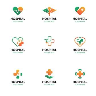 Medische gezondheid logo sjabloon vector icon illustratie set in cross heart ronde vorm